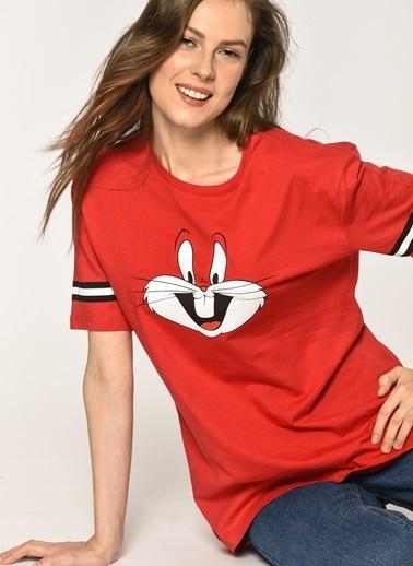Loves You Tavşan Baskılı Loose Fit T-Shirt Kırmızı